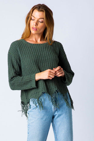 Distressed Chenille Pullover