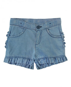 Light Wash Denim Ruffle Shorts