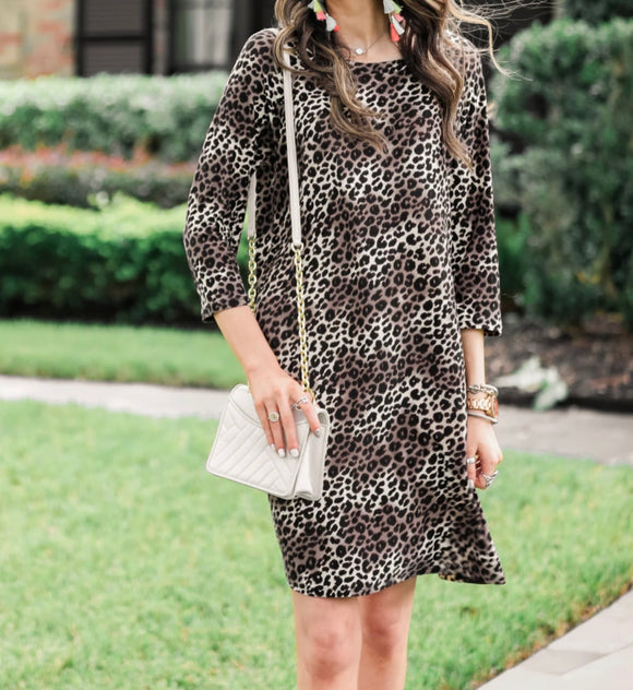 LONDON SLEEVE LEOPARD DRESS