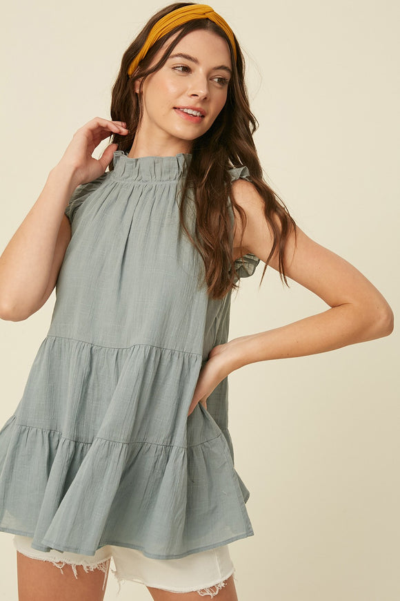 COTTON RUFFLE NECK TOP