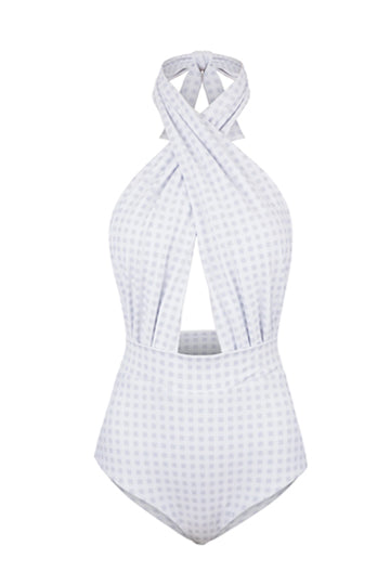 HAVANA MAILLOT IN WHITE GINGHAM