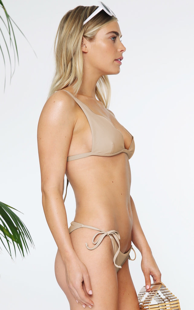 SCALOPPED BRALETTE IN TAUPE