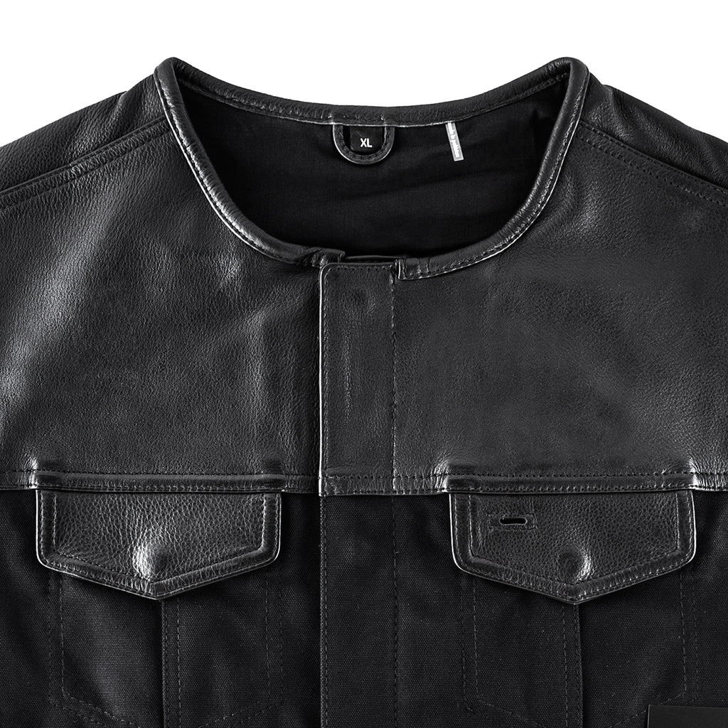 Hellbend Leather Canvas Motorcycle Vest - No Collar-Apparel, Goods, & Gear-HellBend Custom Cycles