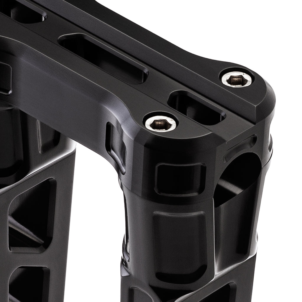 "8"" Straight Clamp Handlebar Risers for 1-1/8"" Handlebars - Anodized Black-Bars & Risers-HellBend Custom Cycles"
