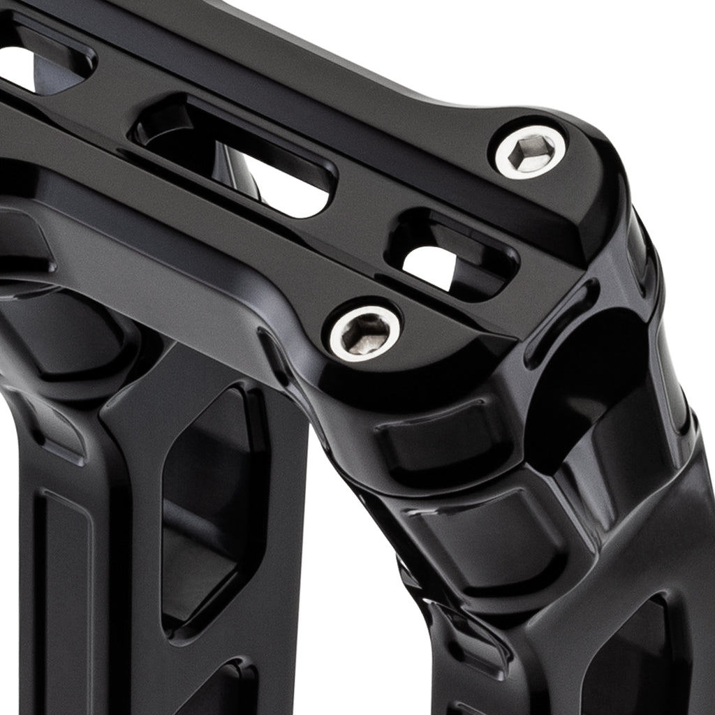 "12"" Pull-Back Clamp Handlebar Risers for 1-1/8"" Handlebars - Anodized Black-Bars & Risers-HellBend Custom Cycles"