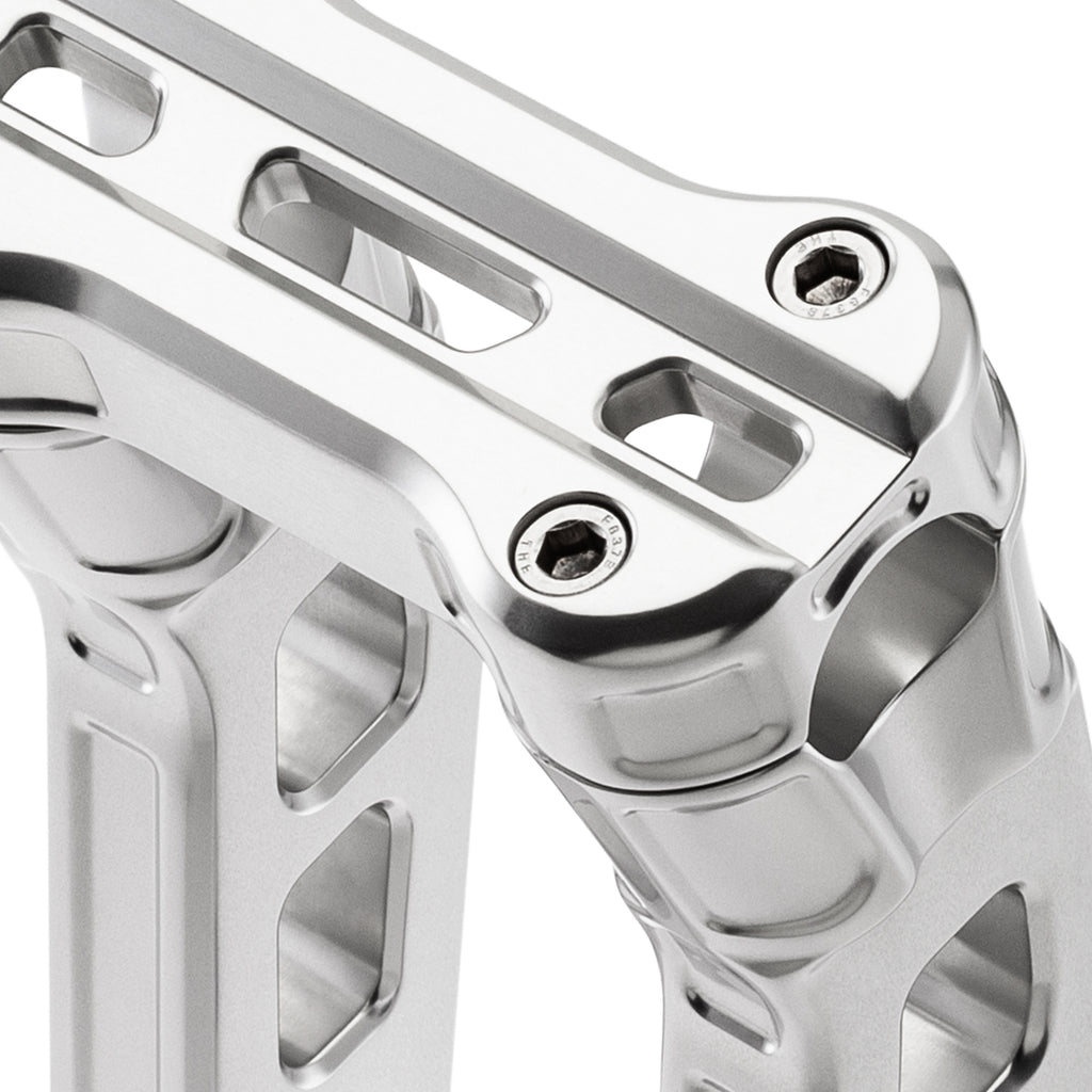 "8"" Pull-Back Clamp Handlebar Risers for 1-1/8"" Handlebars - Natural Anodized-Bars & Risers-HellBend Custom Cycles"