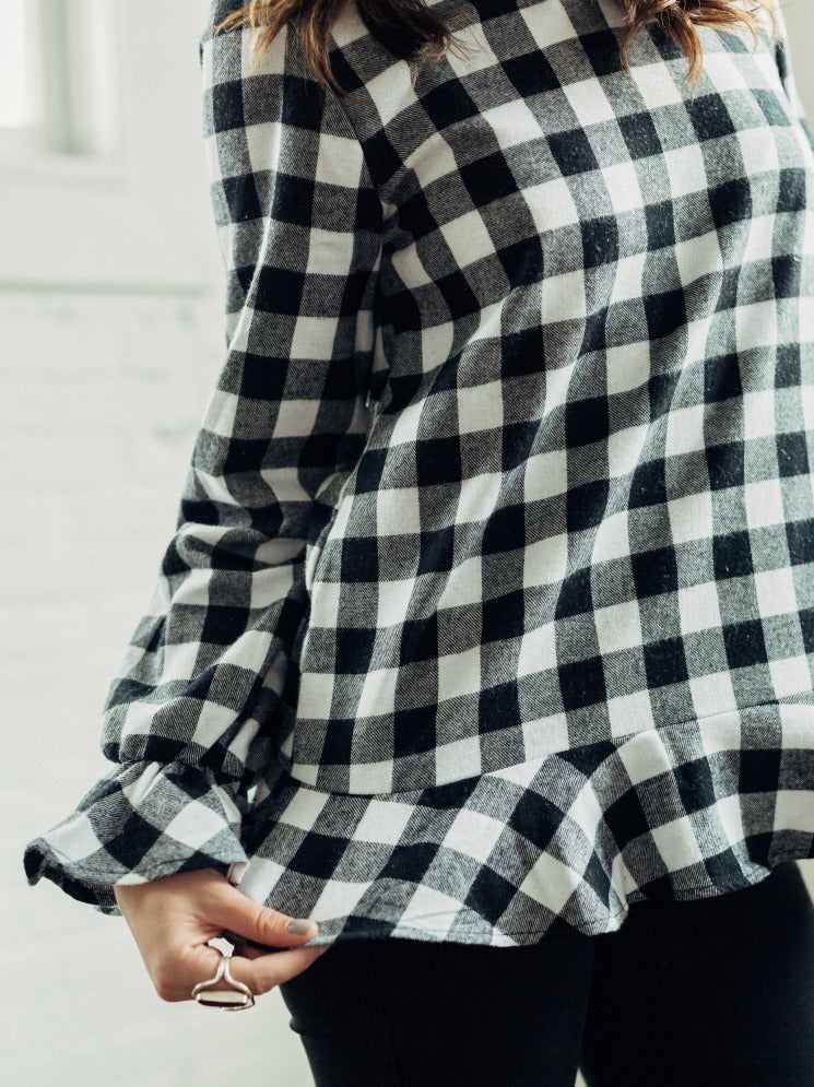 Buffalo Plaid Ruffle Top