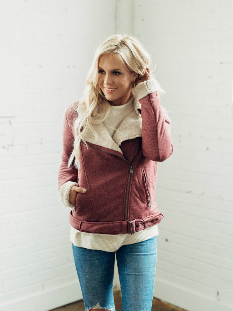 Wine Zip Up Jacket