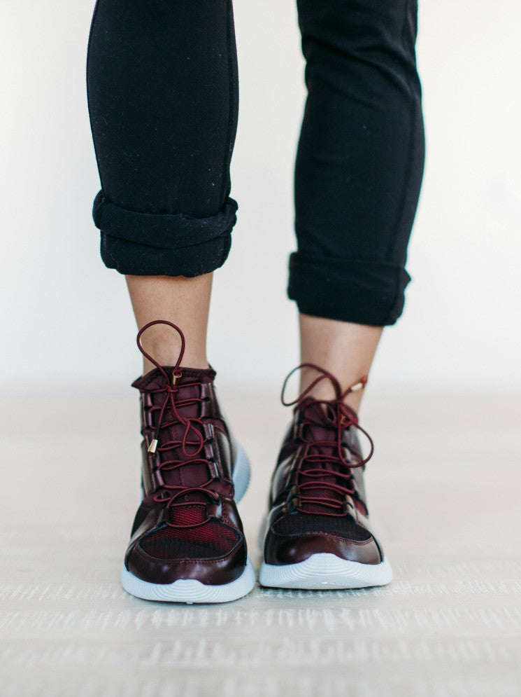 Lace Up High Top Sneaker - Burgundy