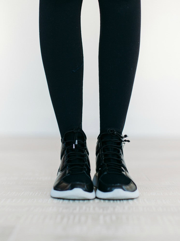 Lace Up High Top Sneaker - Black