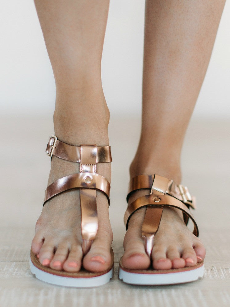 Metallic Sandal - Rose Gold