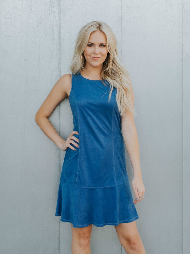 Fit And Flare Blue Suede Dress