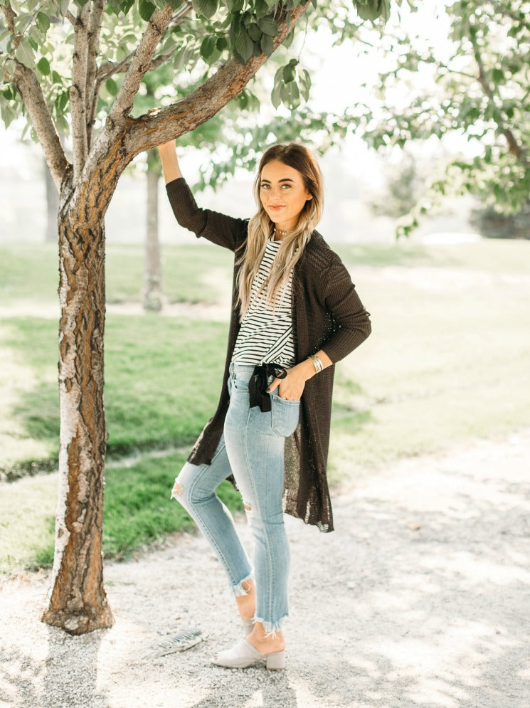 Charcoal Distressed Shrug
