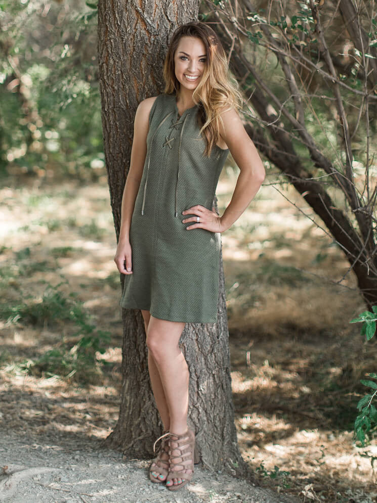 Quilted Aria Dress - Olive