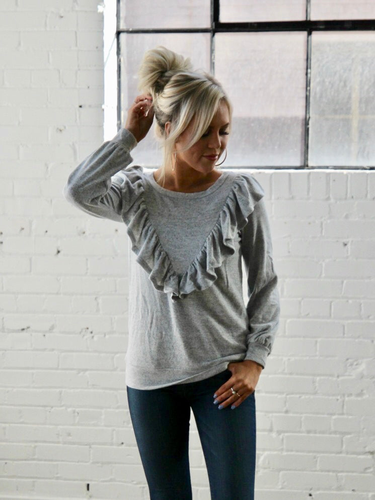 Soft Ruffle Sweater - H. Grey