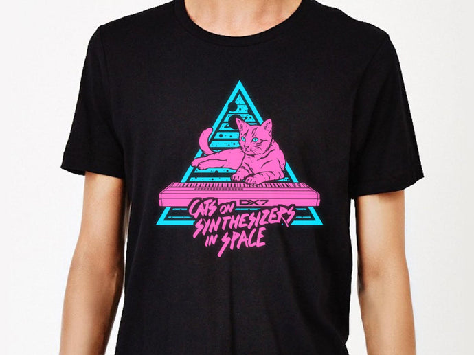 Cats On Synthesizers In Space - Neon T-Shirt