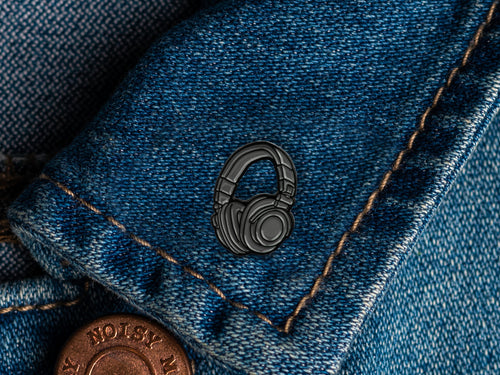 Headphones Enamel Pin Badge
