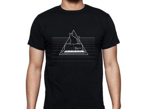 Cats On Synthesizers In Space - Black T-Shirt