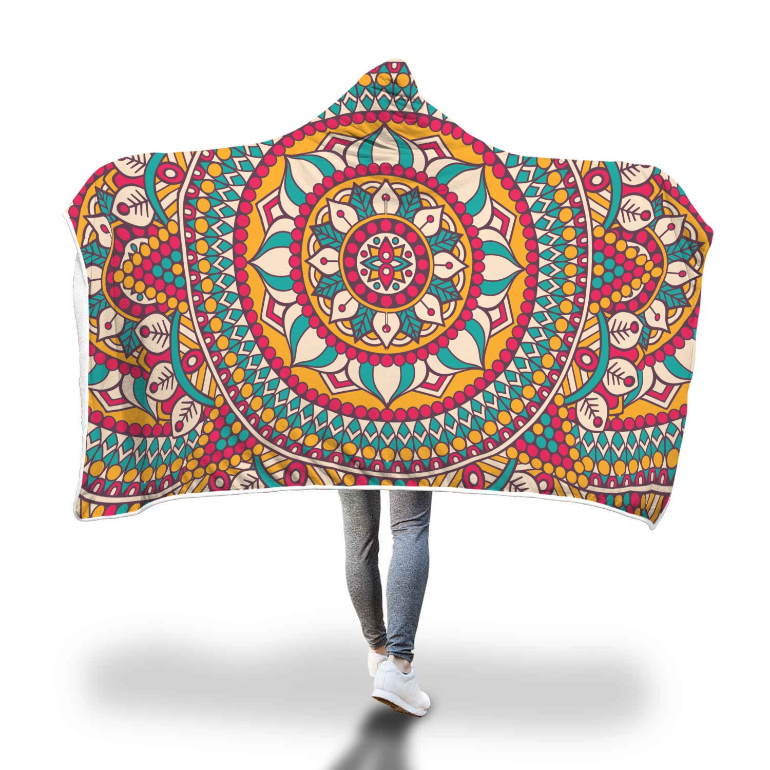 Red/Turquoise Mandala Love Hooded Blanket