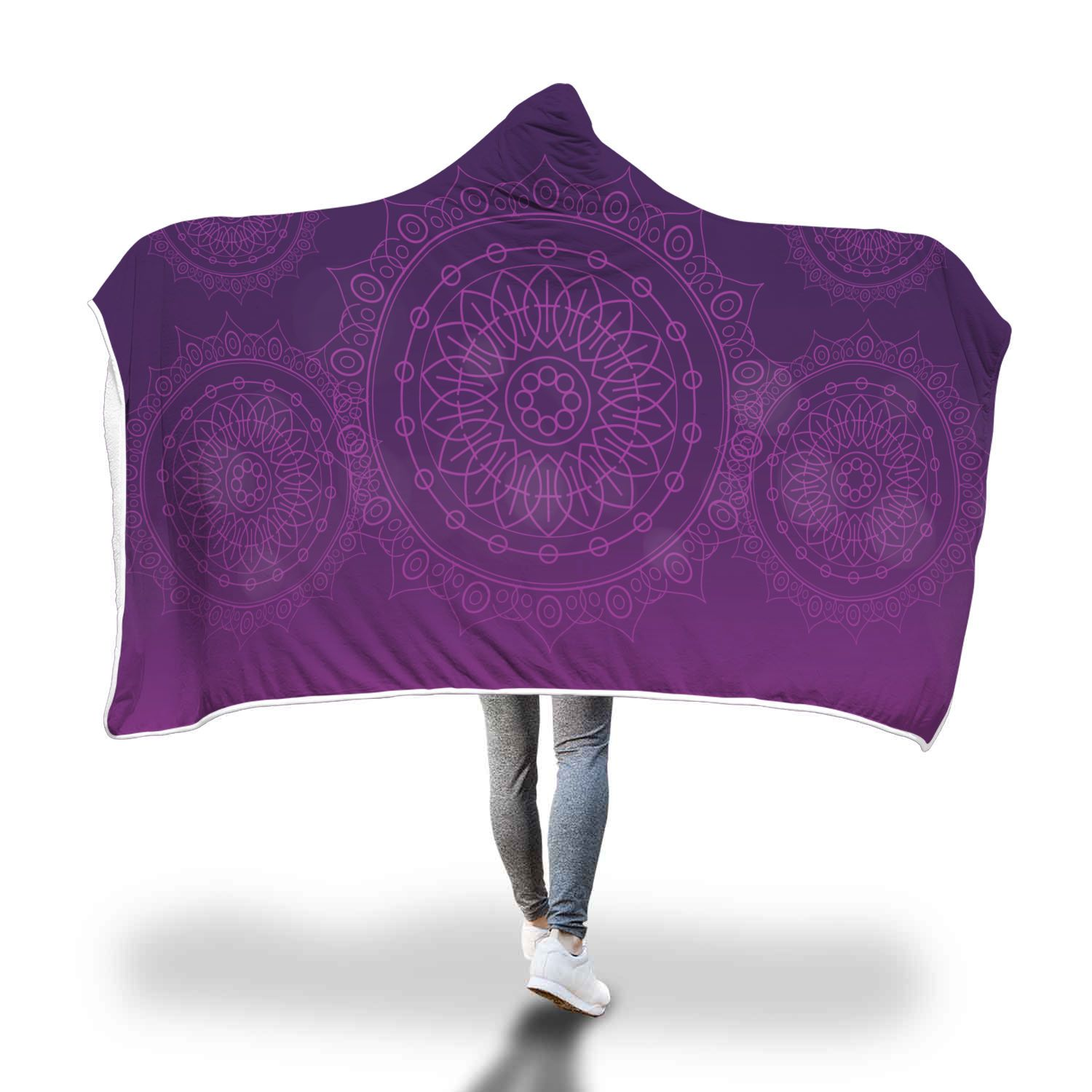 Purple Mandala Love Hooded Blanket