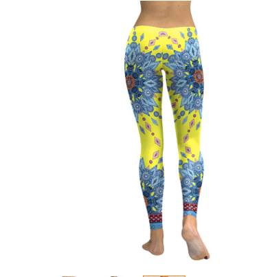 Starburst Mandala Leggings - Yellow & Blue