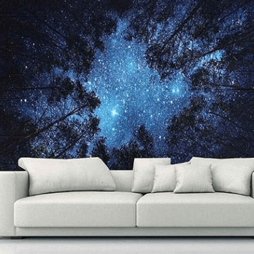 Forest Sky Star Gazing Tapestry