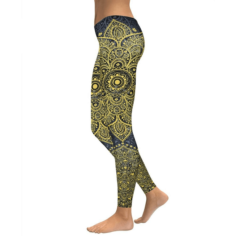 Starburst Gold Mandala Leggings