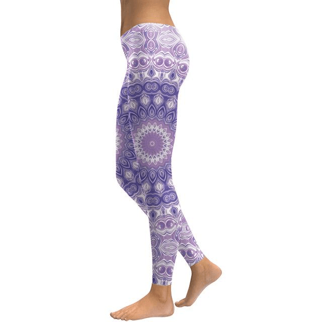 Starburst Purple Mandala Flower Leggings