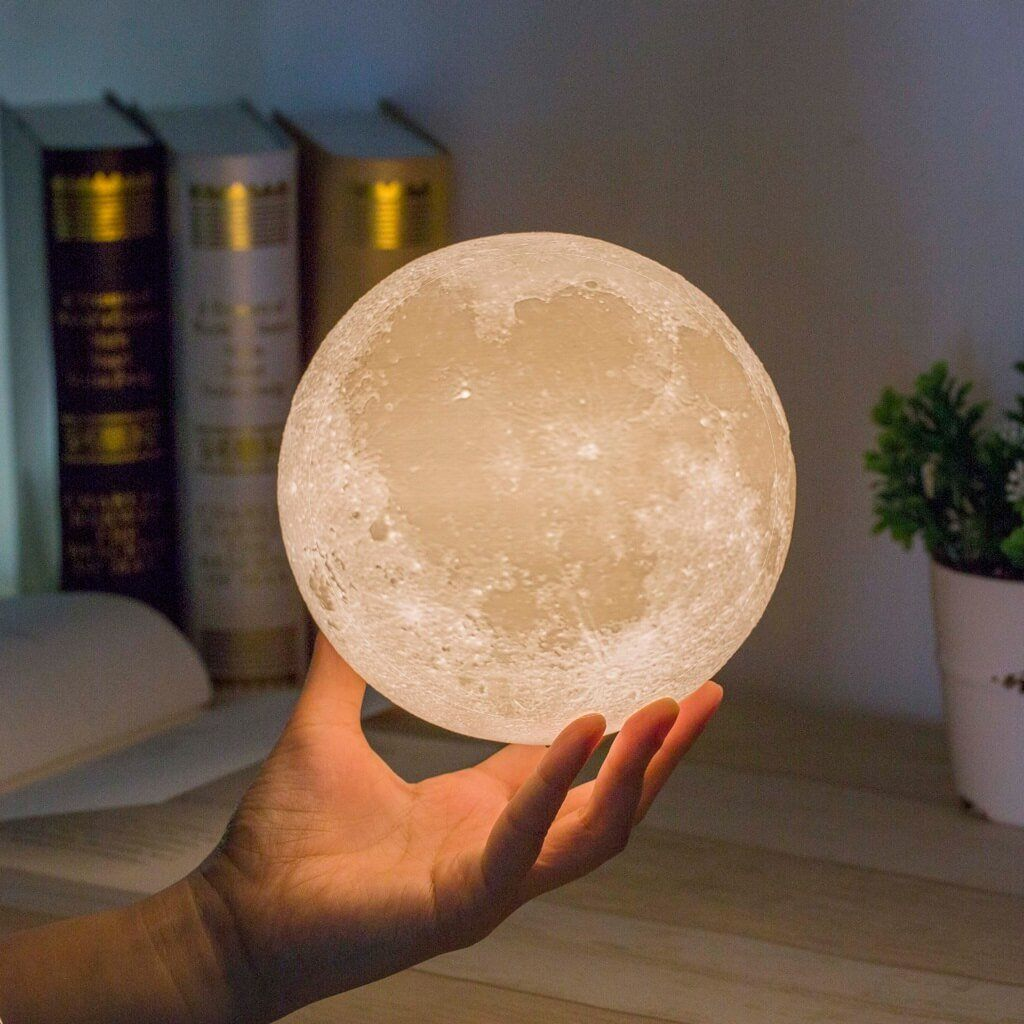 Self-Conscious Moon Light 3d Printed Moon Globe Lamp 2 Colors 3d Glowing Moon Lamp With Stand Touch Control Brightness Usb Charging Access Control