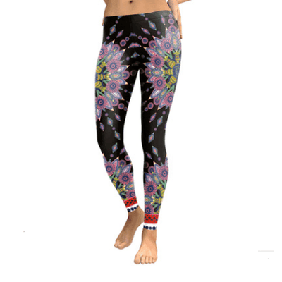 Starburst Mandala Leggings - Black & Pink