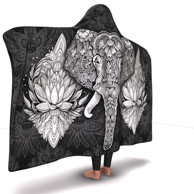 Elephant Mandala Hooded Blanket - Black/White