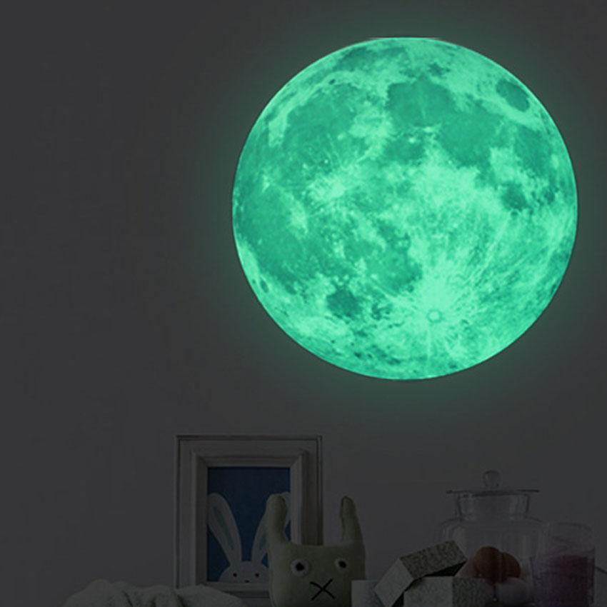 30cm glow in the dark moon wall decal