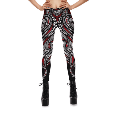 Starburst Mandala Leggings - Red Rose & Black