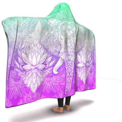 Mandala Elephant Hooded Blanket - Green/Pink