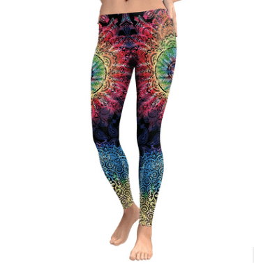 Rainbow Burst Mandala Yoga/Workout Leggings