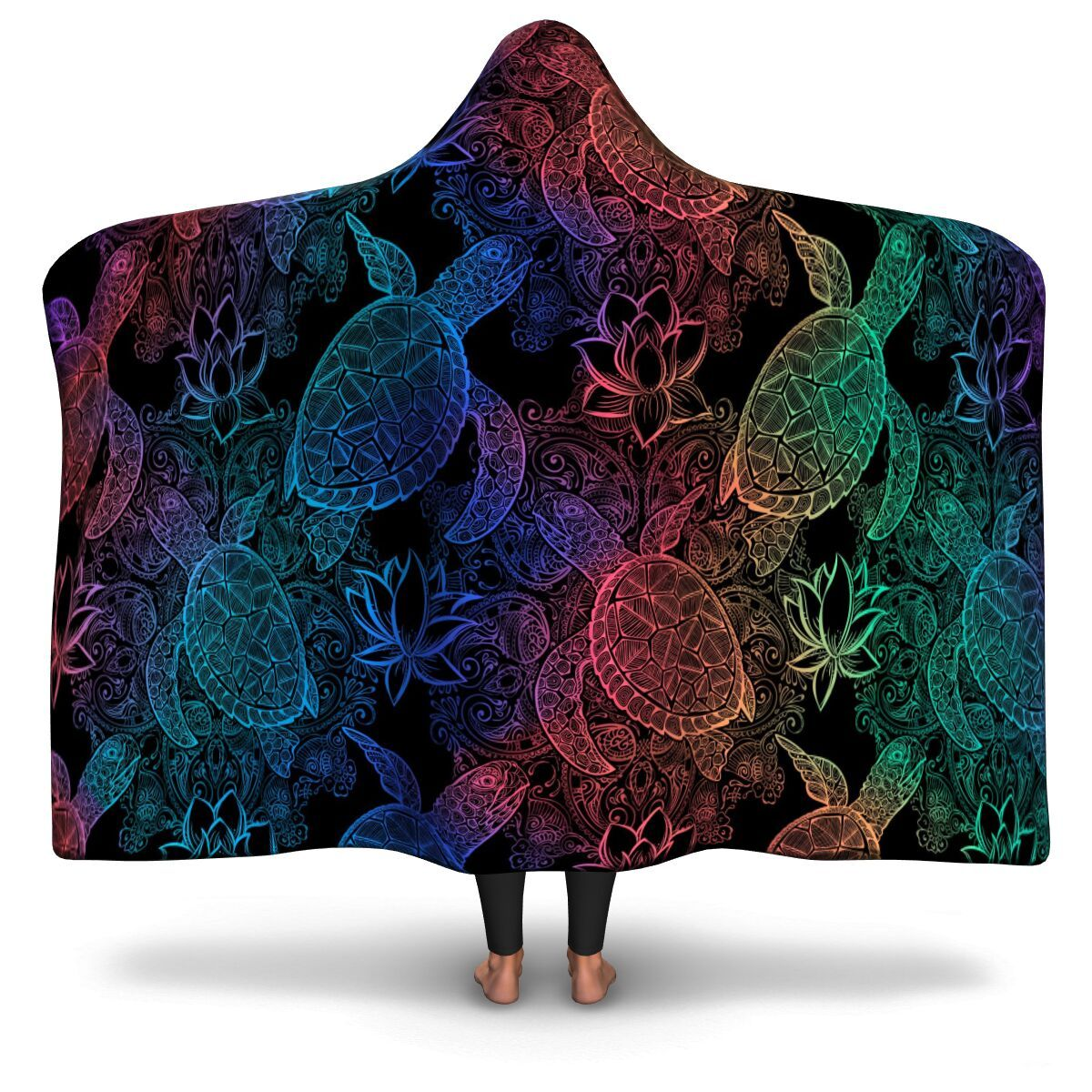 Cosmic Sea Turtles Hooded Blanket