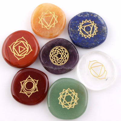 7 Chakras Natural Pocket Palm Stones - My Metanoia Co