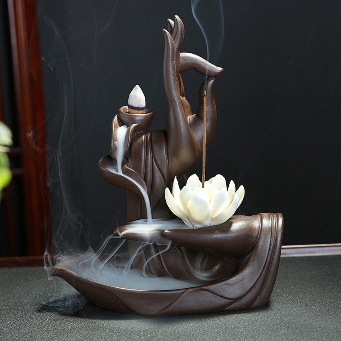 Hand of Buddha with Lotus Ceramic Backflow Incense Burner