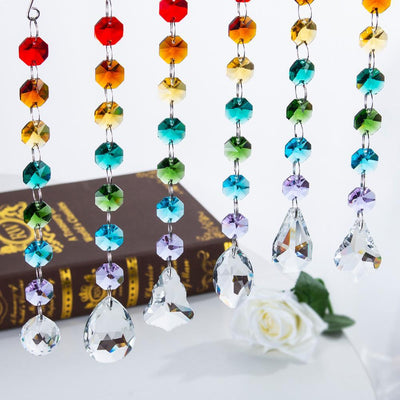 Chakra Crystal Prisms 'Rainbow Love'  Suncatcher - 6 Piece Set