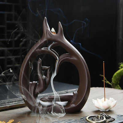 Buddha's Hand Backflow Incense Burner - With 10 Free Incense Cones