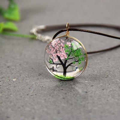 Tree Of Life Glass Pendant Necklace