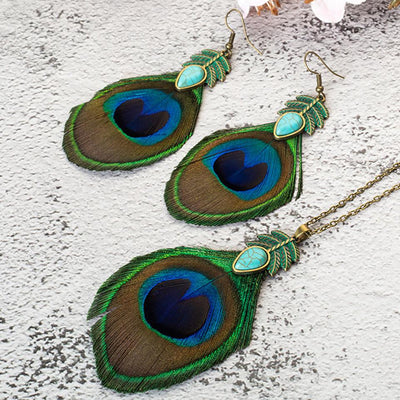 Peacock Feather Tassel Necklace