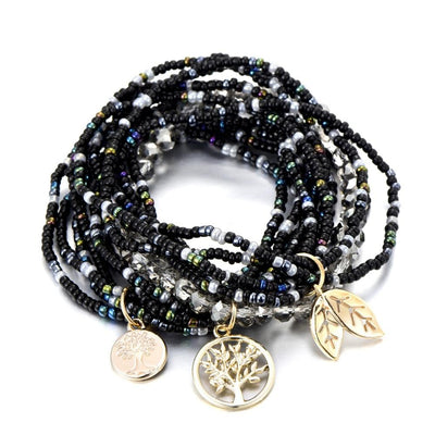 Tree Leaf Charm Beaded Bracelets