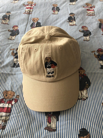 Beige Ralph Lauren Polo Bear Cap 🐻 (Basketball)-Hats/Accessories-DISTINCT - THREADS