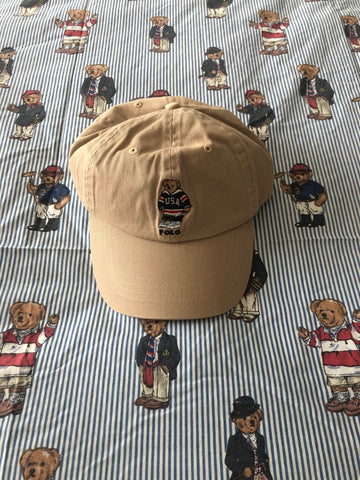 Beige Ralph Lauren Polo Bear Cap 🐻 (Hockey)-Hats/Accessories-DISTINCT - THREADS