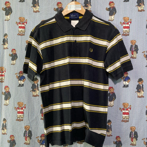 Black Striped Fred Perry Polo Shirt (L)-Polos-DISTINCT - THREADS