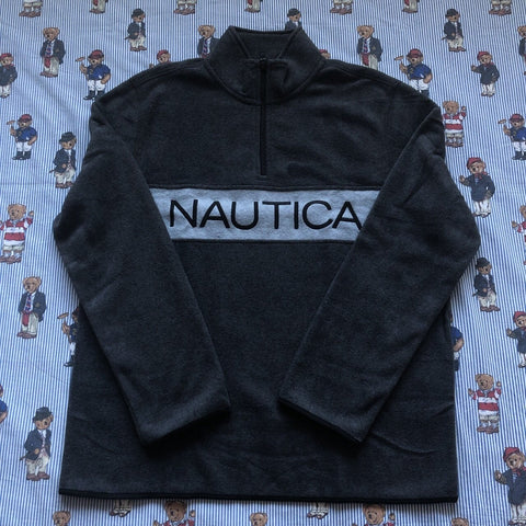 Brand New Charcoal Grey Nautica Spell Out 1/4 Zip Fleece (M&L)-Fleeces-DISTINCT - THREADS