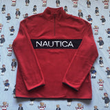 Brand New Red Nautica Spell Out 1/4 Zip Fleece (L)-Fleeces-DISTINCT - THREADS