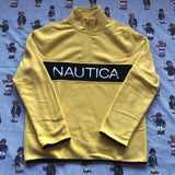 Brand New Yellow Nautica Spell Out 1/4 Zip Fleece (S)-Fleeces-DISTINCT - THREADS