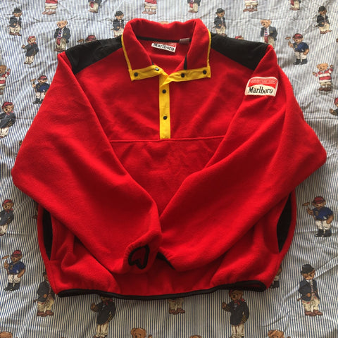 Vintage 90s Red & Black Marlboro Adventure Team 1/4 Zip Fleece 🚬-Fleeces-DISTINCT - THREADS